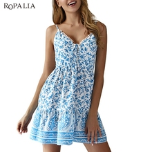 Sling Short Dress Summer Female Boho V-Neck Drawstring Floral Print Slim Waist Mini Dresses Vestidos ornate print drawstring waist dress