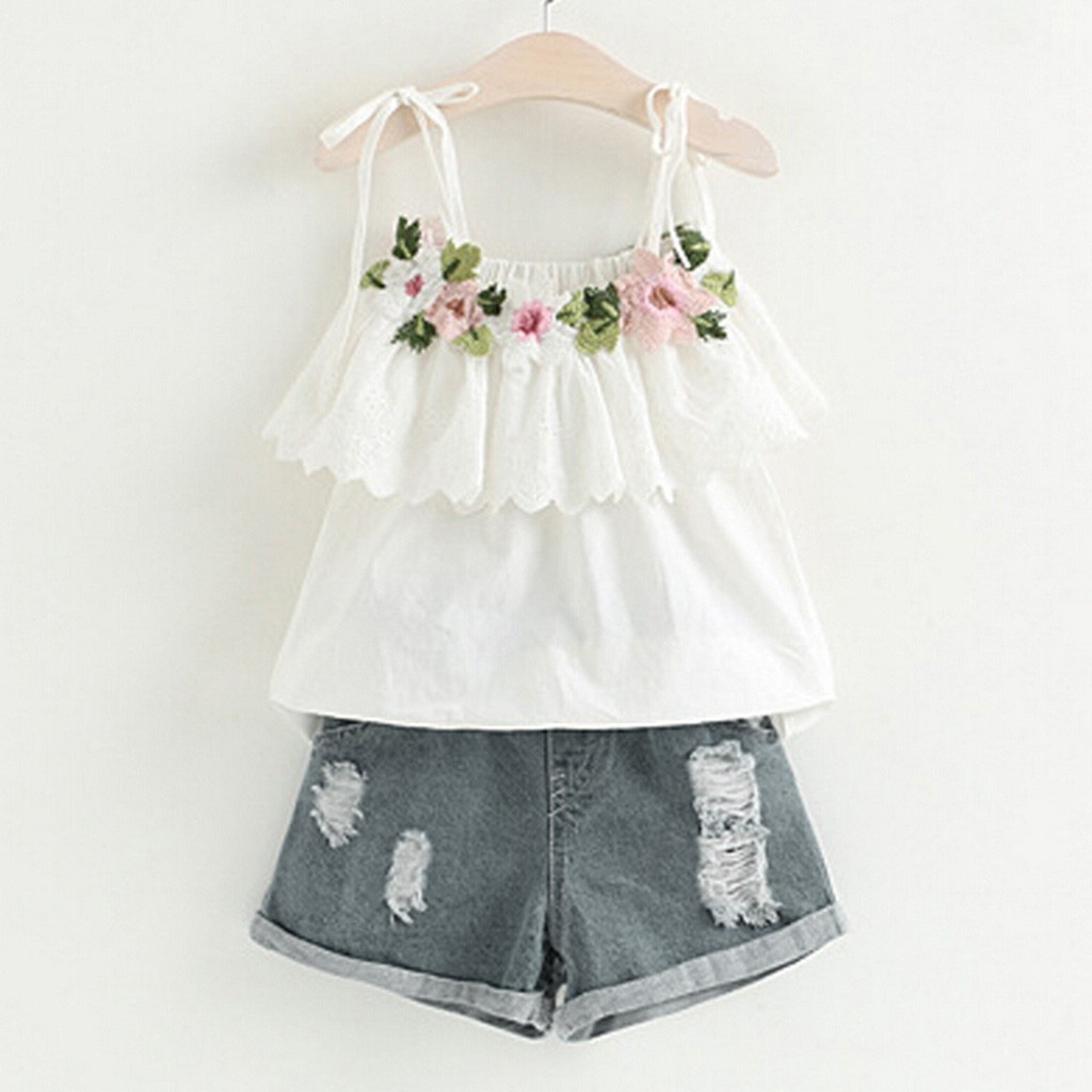 baby girl summer clothes Toddler Kids Baby Girl Outfits Clothes Embroidery T-shirt+Denim Shorts Jeans Set 1