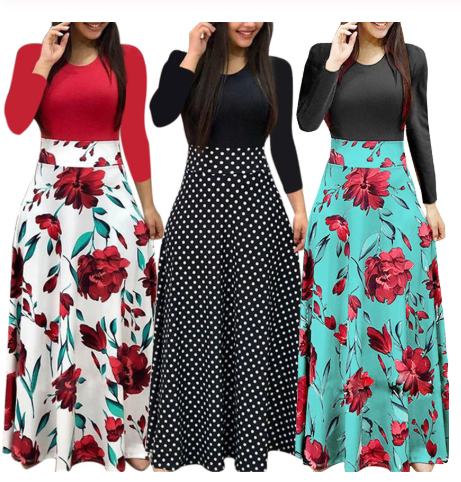 Plus Size Women Autumn Print Stitching Flower Casual Long Party Dress 2020 Vestidos Bodycon Elegant Sexy Woman Maxi Dress Femme