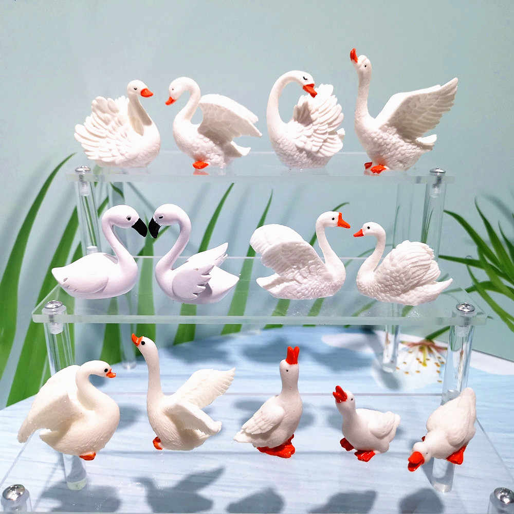 Swan Sets Lovers Bird Animal Model Figurine Home Ornament Glass Decor Miniature Craft Garden Fairy Decoration DIY Accessories