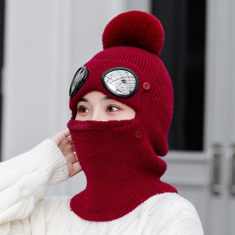 Women Winter Knitted Hat Scarf Woman Warm Plush Pom Pom Hooded Scarves Female 2019 Female Lady Women New Glasses Cap