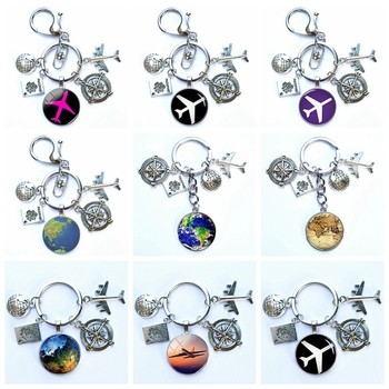2020 New World Airplane Map Keychain Travel Discovery Discover Glass Dome Cabachon Airplane Map Charm Pendant Keychain Gift image