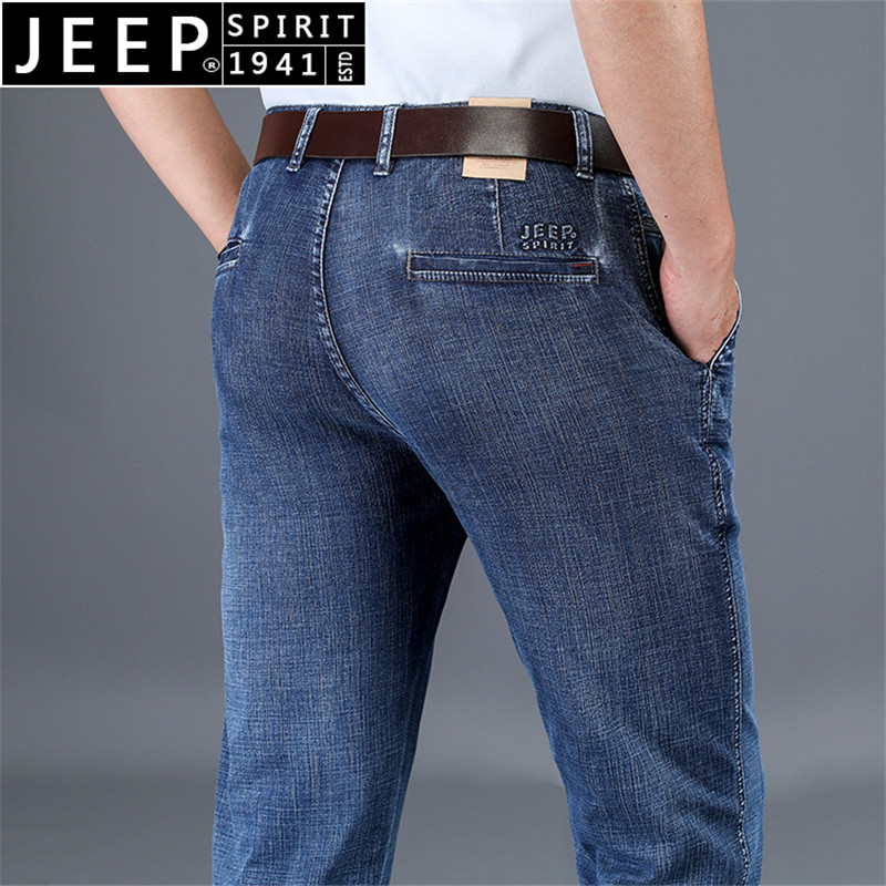 JEEP SPIRIT New Spring Denim Pants Men Business Casual Mid-waist Straight Jeans Men Dark Blue Trousers Men Plus Size 30-44 Pants