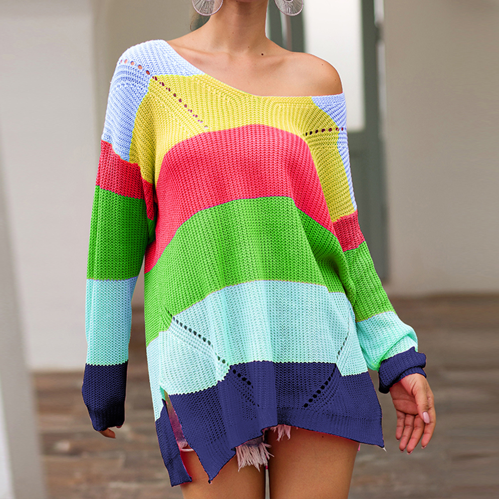 2020 New Women Multicolor Striped Long-Sleeved Loose Knitted Pullovers Lady Fashion Slim Fit Split V-neck Oversize Long Sewaters