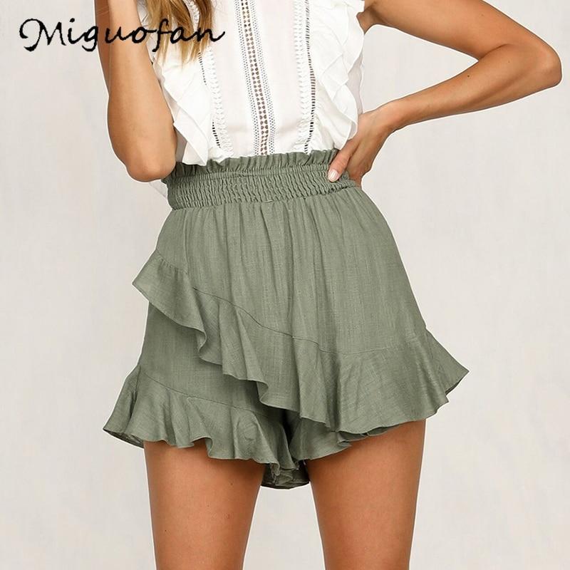 Miguofan Women Pants Asymmetry Ruffles Casual Solid Wide Leg Shorts High Shorts Lady Summer High Waist Solid Shorts Woman
