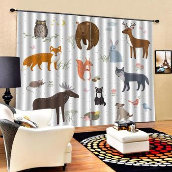 Customized size 3d Curtain Color drawing animal painting 3d Curtains Blackout for Living Room Kids Bedroom Fabric