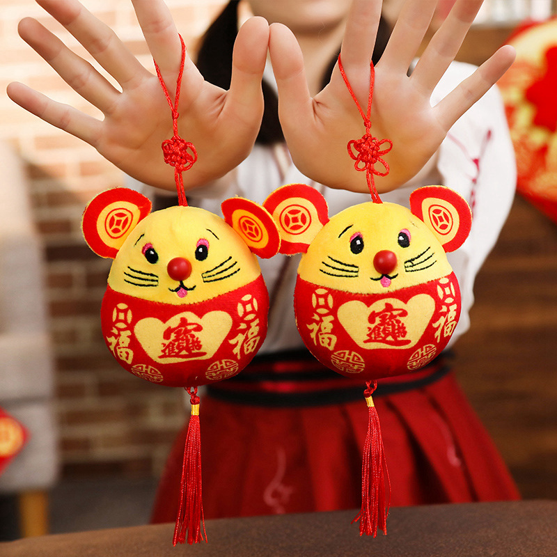 2020 New Year Plush Rat Year Mascot Toy Pendant Plush Red Mouse In Tang Suit Soft Toys Chinese New Year Party Decoration Gift