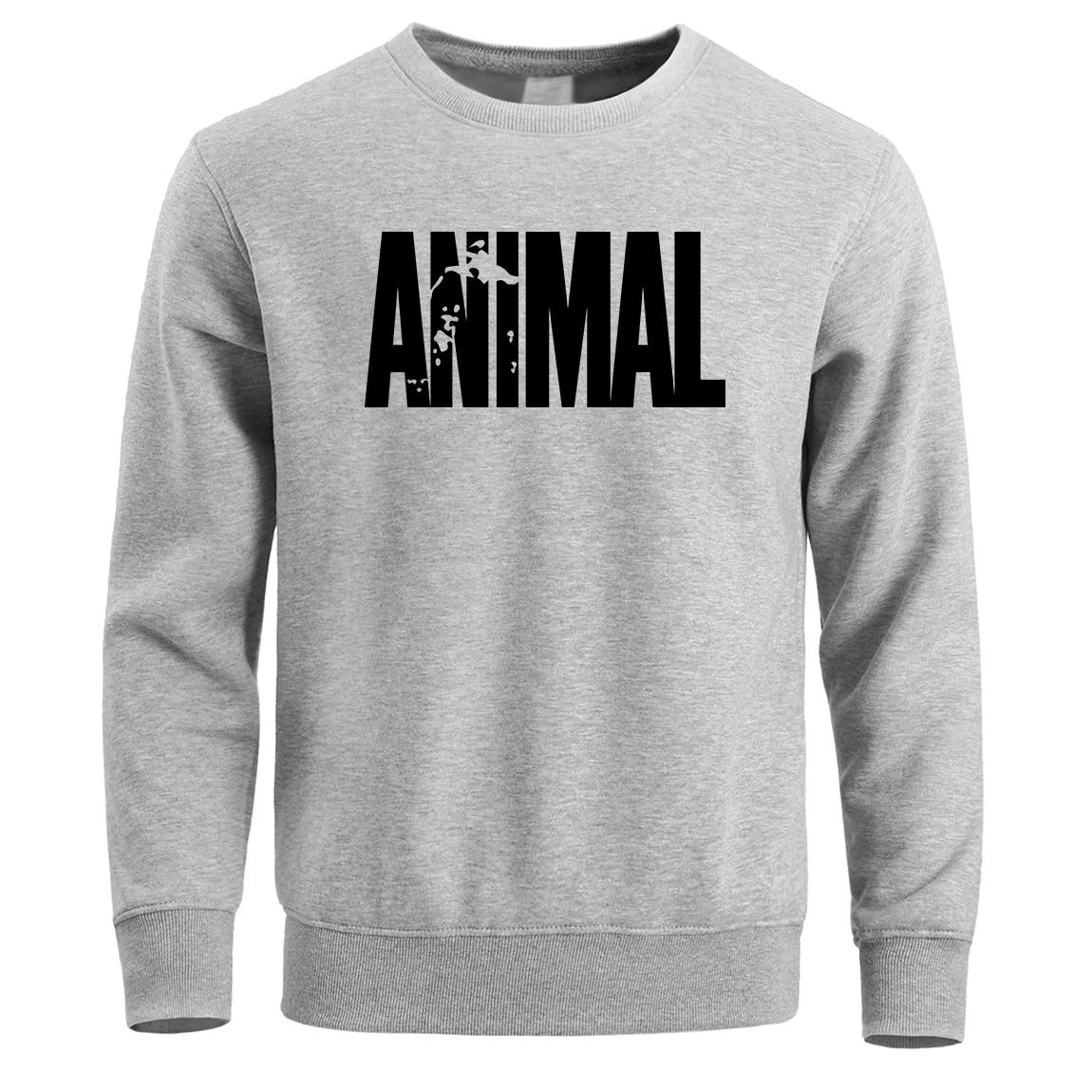 Gym Clothing Sweatshirt Men Animal Crewneck Hoodies Sweatshirts Winter Fleece Warm White Mens Pullover Streetwear Male Hoodie