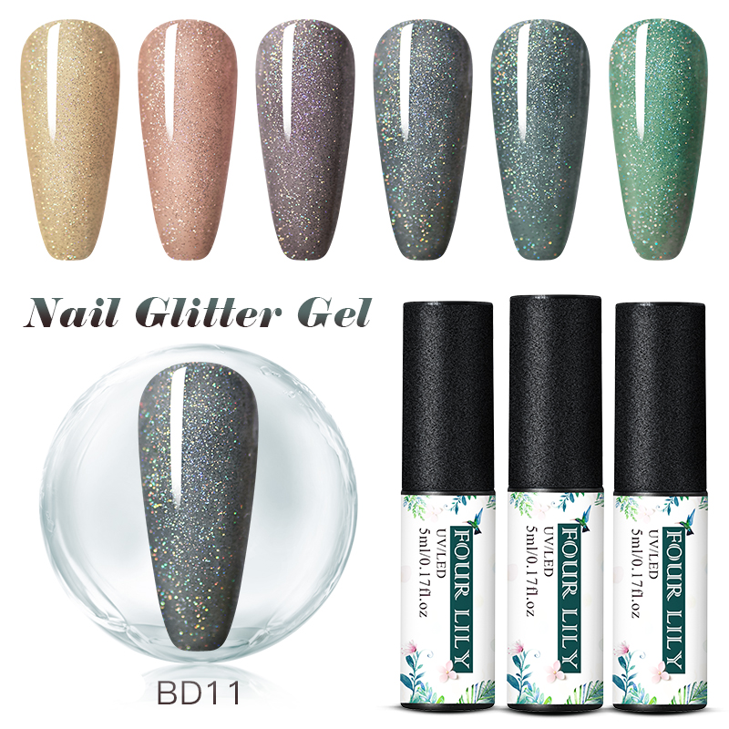 Four Lily 5ml Nude Color UV Gel Holographic Glitter Sequin Semi Permanent Soak Off Nail Gel Polish Varnish Shimmer Shining Gel