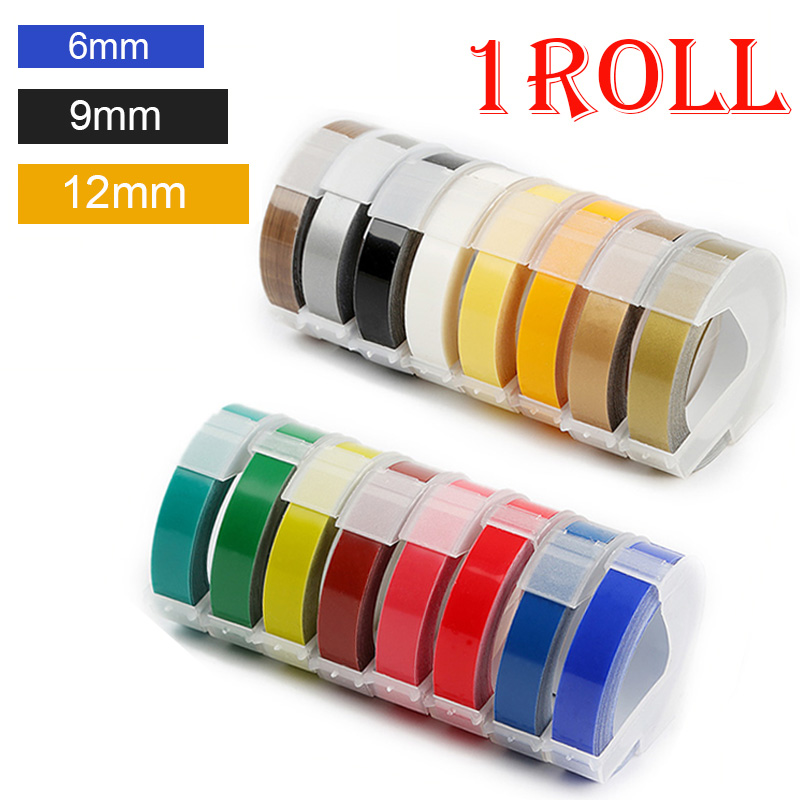 1 rollo/6/9/12mm 3D grabado de PVC cintas de etiquetas DYMO compatible 1610 1880 Manual de 12965 impresoras de etiquetas para Motex E101 etiqueta fabricantes