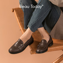 Buckle-Straps Beautoday-Loafers Flat-Shoes Slip-On Round-Toe Genuine-Cow-Leather Women