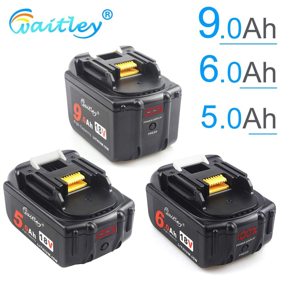 Аккумуляторная батарея Waitley 18 V 5,0 6.0Ah для электроинструментов Makita с светодиодный литий-ионной заменой LXT BL1860 1850 18 v 9 A 6000mAh