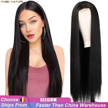 AISI HAIR długa prosta czarna peruka peruki syntetyczne dla kobiet naturalna środkowa częściowo koronka peruka włókno termoodporne naturalny wygląd peruka tanie i dobre opinie Wysokiej Temperatury Włókna long Codziennego użytku CN (pochodzenie) Proste Średnia wielkość 30inches 26inches Black