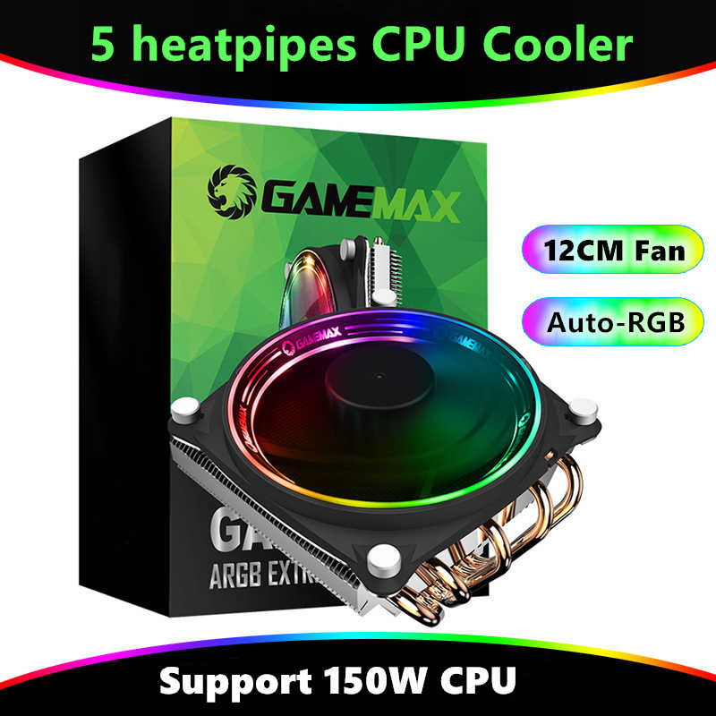 RGB di Raffreddamento Ventola Del Radiatore 5 Heatpipes Cpu Cooler Imbottiture Pressione Dissipatore di Calore 150W LGA 775 1150 1151 1155 1156 1366 AM3 AM4 Ventola Di Raffreddamento