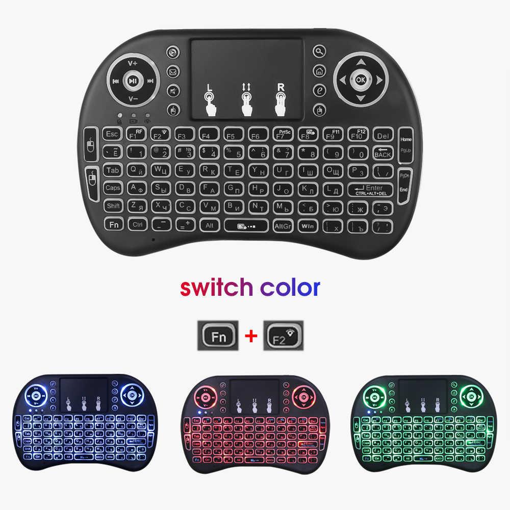 I8 Mini 2.4G Wireless Keyboard Touchpad Backlit Udara Mouse Bahasa Rusia untuk Android TV Box untuk Xbox Smart TV PC untuk PS3/PS4 HTPC