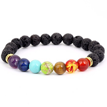 Classic Chakra Seven Colors Black Lava Stone Bead Bracelets for Men Women Charm Elastic Hand Jewelry Gift DropShipping