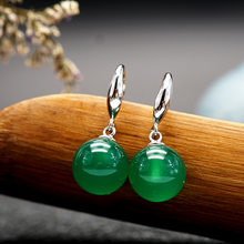 S925 Silver Green Emerald Jewelry Earring National Natural Green Jade Silver 925 Jewelry Bizuteria Orecchini Drop Earring Women(China)