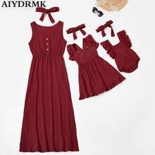 Vestido de mãe e filha família, vestidos sem mangas femininos, mãe e filha, roupas que combinam