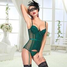 סקסי מחוך נשים הבסקים ארוטי Korse שקוף תחרה רשת מחוך למעלה הלבשה תחתונה Slim מותן Bustier לדחוף את מחוך