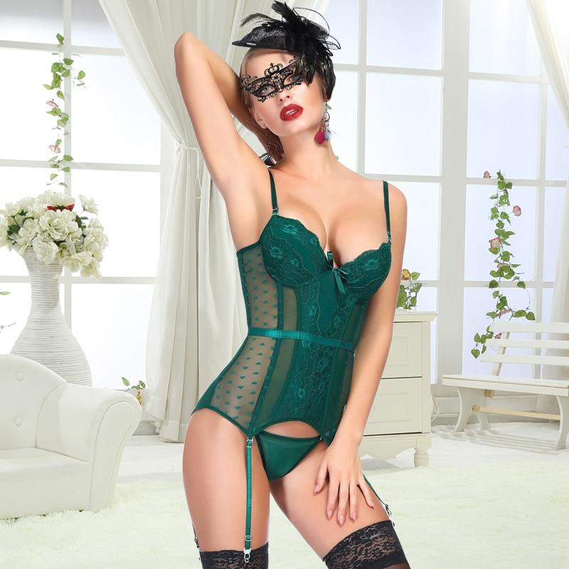 Sexy Corset Women Basque Underwear Erotic Korse Transparent Lace Mesh Corset Top Lingerie Slim Waist Bustier Push Up Corselet 2
