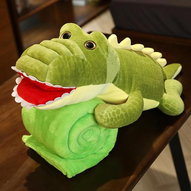 2 In 1 Crocodile Plush Toys with Blanket Plush Cushion Pillow Doll Home Decoration Gift for Children