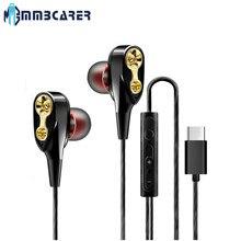 Supergraves-auriculares intrauditivos con micrófono, audífonos intrauditivos estéreo de doble unidad tipo C con cable para Huawei, Xiaomi y Redmi