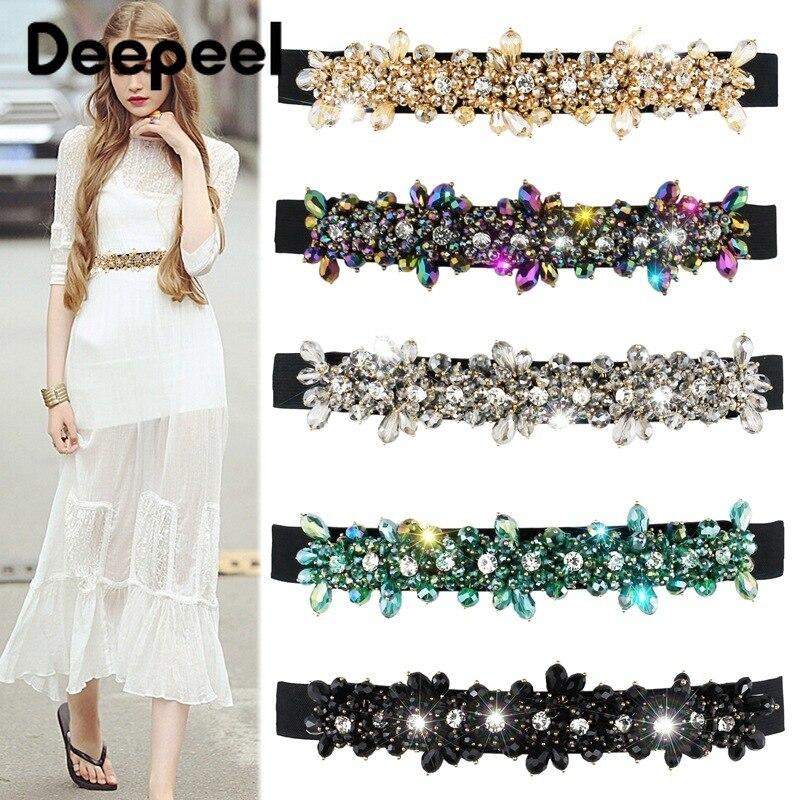 Deepeel 1pc 2.5*65-93cm Women Colorful Diamond Cummerbunds Elastic Wide High Waist Belt Fashion Corset For Dress Girs GiftCB6445