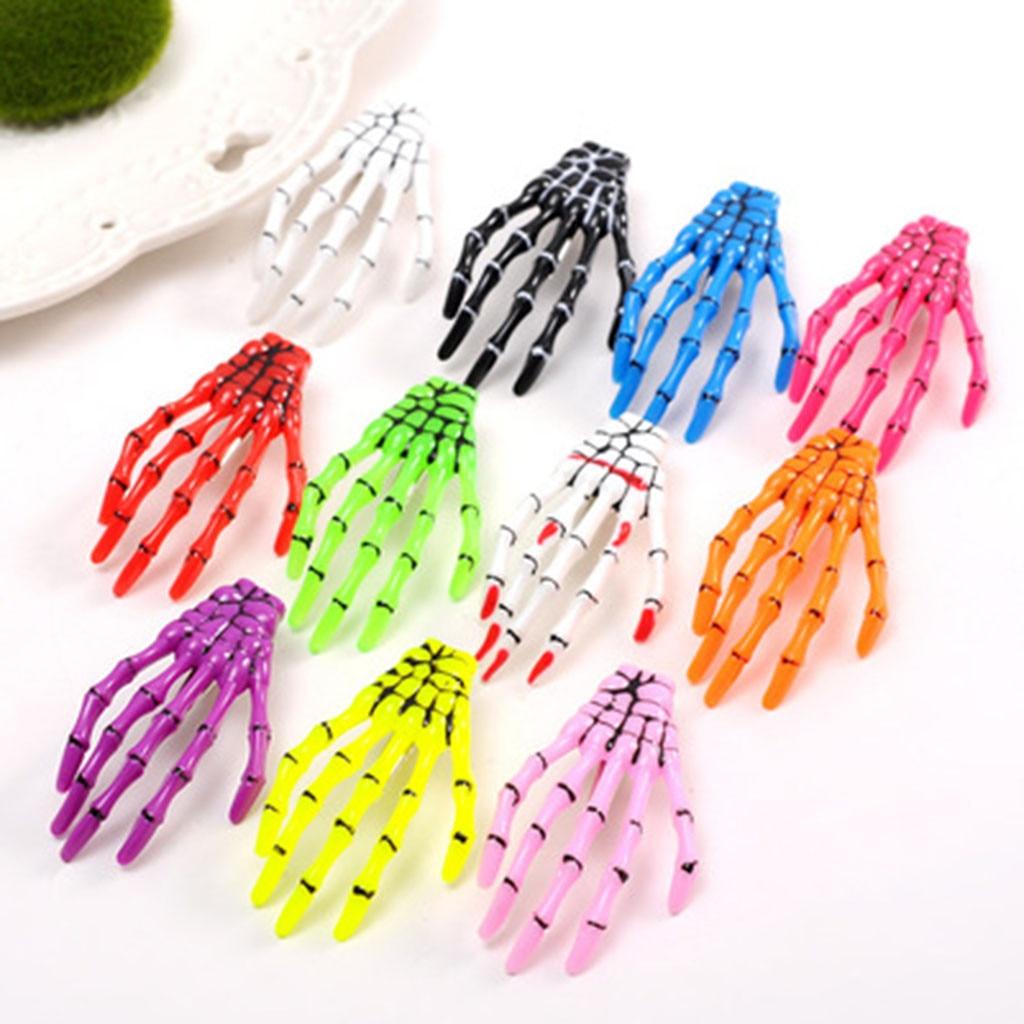 1 Pair of Skeleton Hand Rose Creative Hairpin Headwear for Girls Halloween Decor
