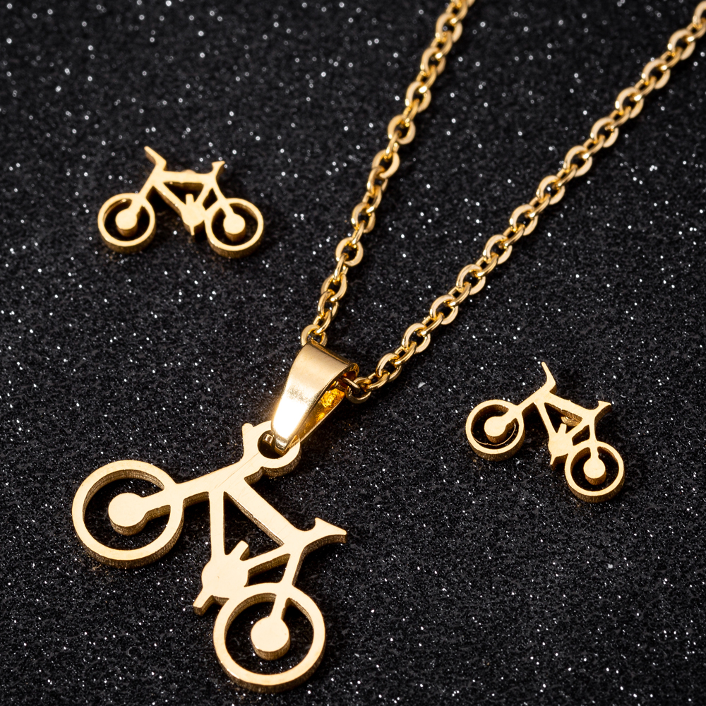 Hfarich Chic Dainty Gold Bike Women Jewelry Sets Femme Kids Stainless Steel Funny Bicycle Earings Chain Necklaces New Year