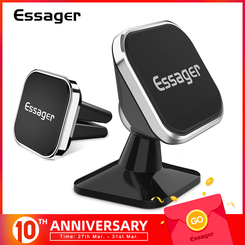 Essager Magnetic Car Phone Holder For IPhone Samsung Square Holder For Phone In Car Magnet Mount Cell Mobile Phone Holder Stand