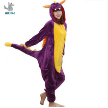Cartoon Unisex Erwachsene Flanell Winter Spyro Onesies Lila Anime Drachen Dinosaurier Pyjamas Cosplay Kostüme Kigurumi Nachtwäsche