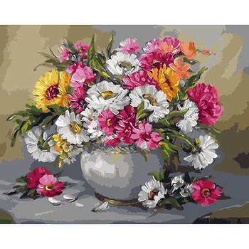 Chrysanthemum Bouquet Hand Made Paint High Quality Canvas Beautiful Painting By Numbers Surprise Gift Great Accomplishment