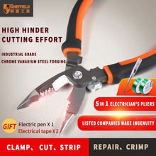 SHEFFIELD S035057 8 inches 5 in 1 Tang Multifunctionele elektricien punttang Draad Strippen Cutter krimptang(China)
