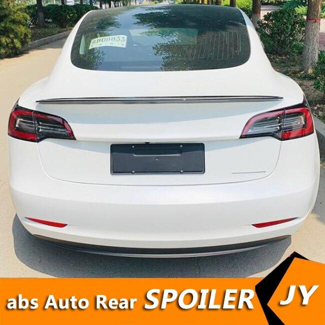 Otomobiller ve Motosikletler'ten Rüzgarlık ve Kanatlar'de Tesla mod 3 Spoiler karbon karbon fiber malzeme 2012 2018 P4 JKS performans tarzı Spoiler Tesla modeli 3 Spoiler title=