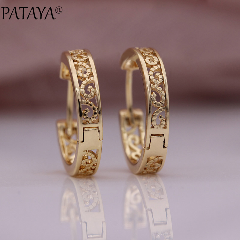 PATAYA New Hollow Circle Round Dangle Earrings Women Cute Trendy Fine Fashion Jewelry 585 Rose Gold Carve Unique Simple Earrings