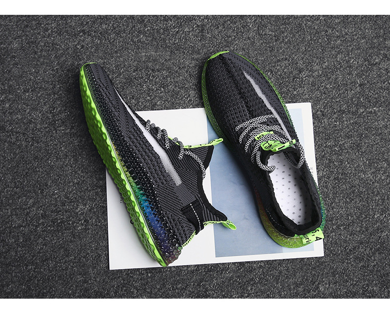 Ha2deccce6d8344a5bd2363bbd3f5cf521 Rainbow bottom coconut shoes flying woven running shoes