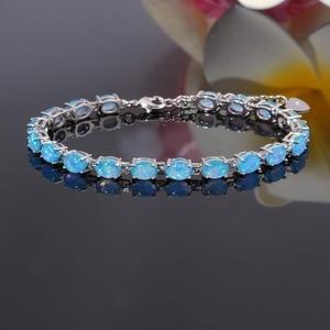 Image 2 - CiNily Blue & White Fire Opal Stone Chain Bracelets Silver Plated Oval Fine Link Bracelet Bohemia BOHO Summer Jewelry Woman Girl