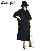 Black Button Front Turn down Polo Tunic Dress Women Autumn Solid Flare Sleeve Shift Basics Casual Dresses Female Tshirt Dress
