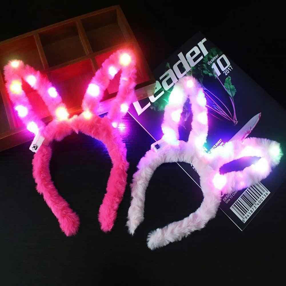 กระต่ายน่ารักกระต่ายผู้หญิง Plush LED Light up Headband ผม Hoop อุปกรณ์ Party ผมนุ่มหญิง Hairband ผม accessor