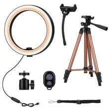 10 Polegada anel de luz de selfie com 50 Polegada tripé suporte & suporte de telefone para maquiagem ao vivo stream, anel de luz de led para câmera com controle remoto shu