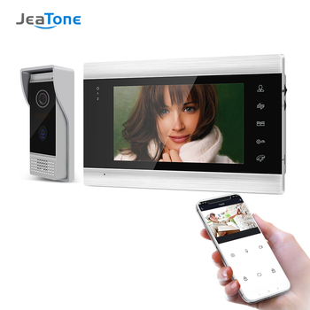 Jeatone 7 Inch Wireless WiFi Smart IP Video Door Phone Intercom System with 1x 720P Wired Doorbell Camera,Support Remote unlock цена 2017