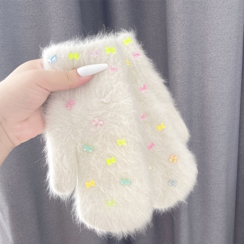 Double-layer Rabbit Fur Gloves Winter Women Cute Solid Korean Version Warm Mittens Full Finger Small Bowknot Outdoor Gloves