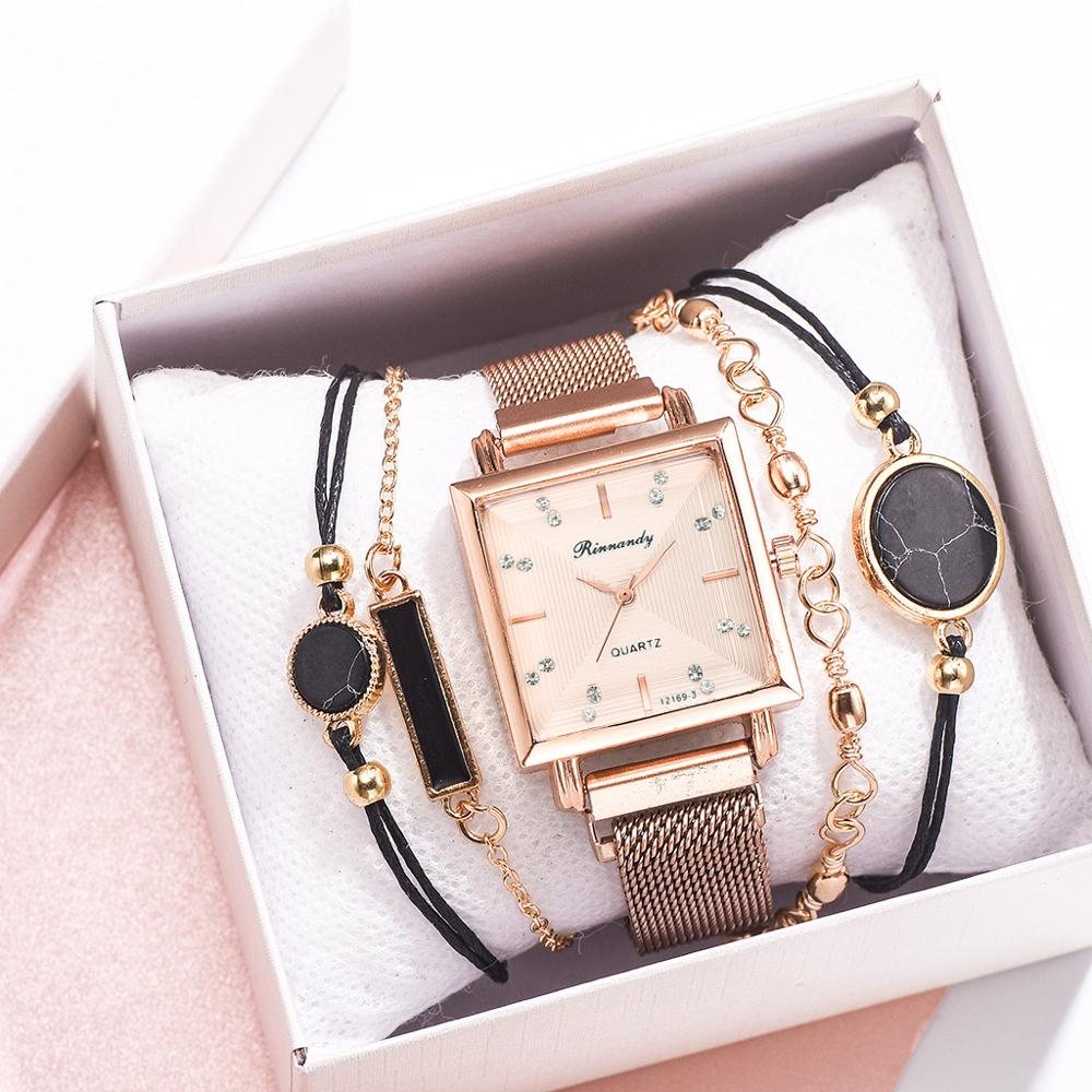 5Pcs Watches Set Luxury Bracelet & Bangle Ladies Quartz Clock Wrist Watch Minimalismus Square Style Sports Women Watch Gift