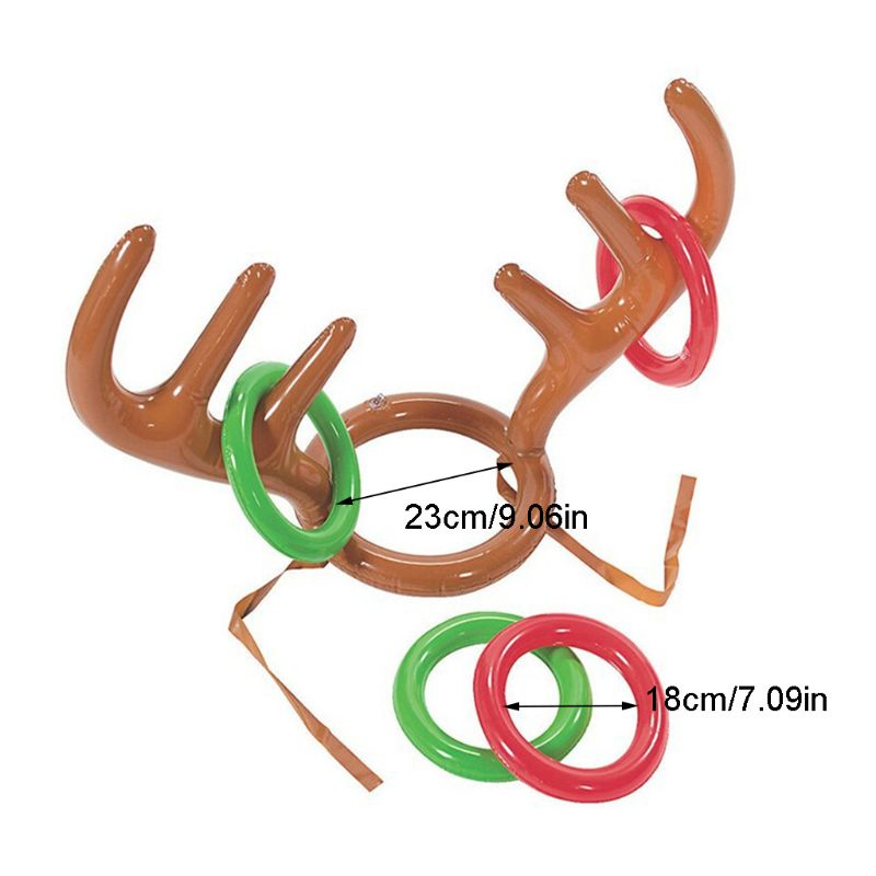 1 Pc Christmas Inflatable Reindeer Antler Ring Toss Game Xmas Party Fun Props K4UE