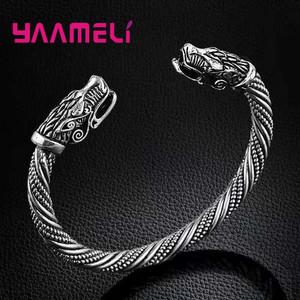 New Arrival 925 Sterling Silver Mens Bangle Punk Style Fashion Dragon Head Cuff Bracelets Costume Party Jewelry