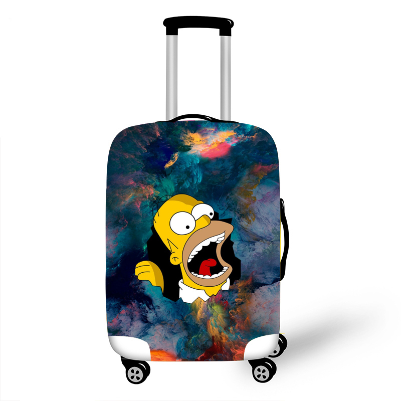Elastic Luggage Protective Cover Case For Suitcase Protective Cover Trolley Cases Covers 3D Travel Accessories Simpsons Pattern