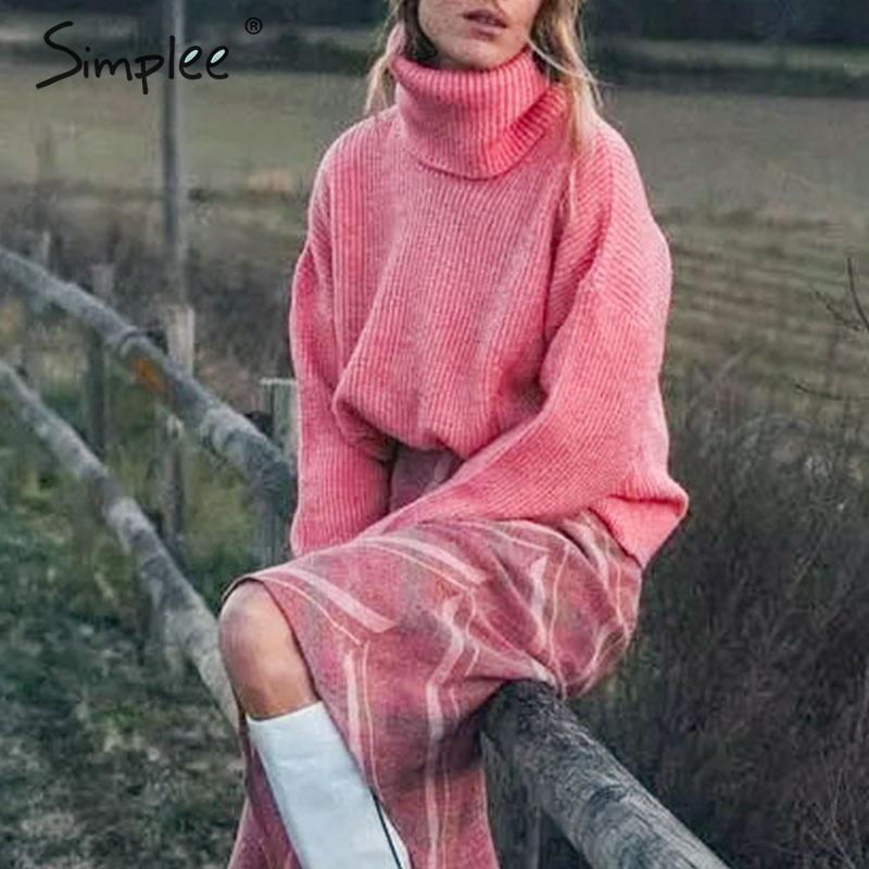 Simplee Turtleneck Women Knitted Sweaters Loose Autumn Winter Female Pullover Jumpers Streetwear Oversize Ladies Sweaters 2019
