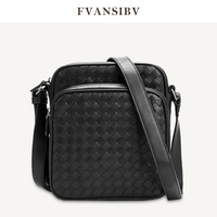 High End Calf Leather Hand Woven Shoulder Bag Men's Brand Shoulder Bag Business Leather Man Bag Casual Simple Large Capacity Bag
