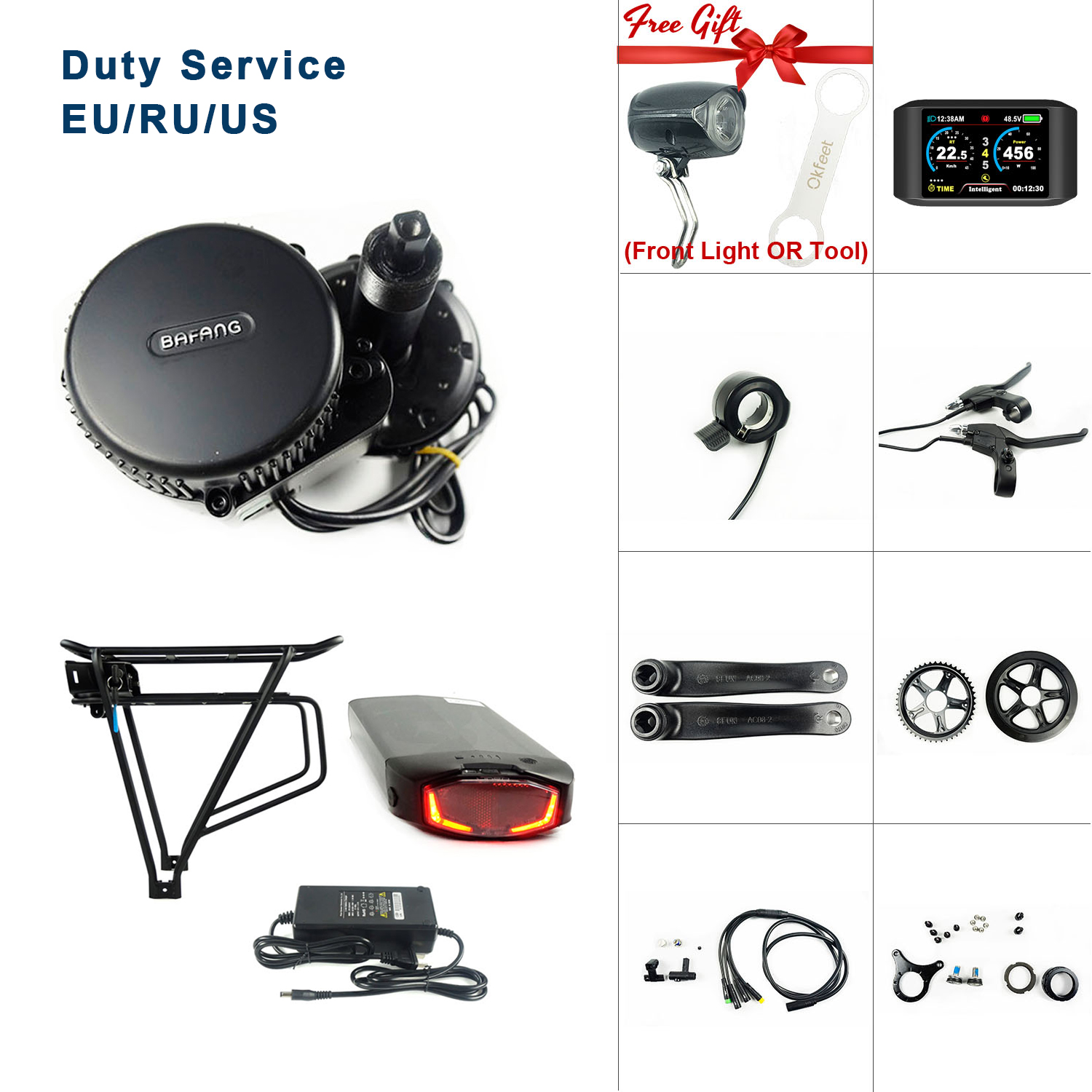 Bafang <font><b>36V</b></font> 250W BBS01 MMG340 Light E-bike Mid Drive <font><b>Motor</b></font> Ebike Conversion Kit With <font><b>36V</b></font> 16Ah Rack Battery Function image