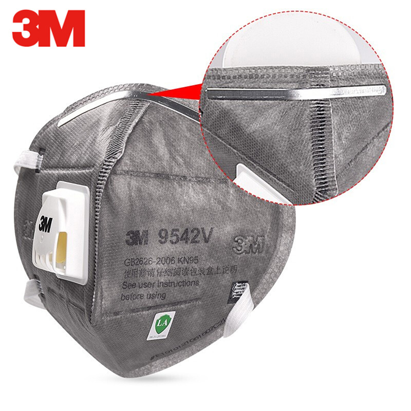 3M 9542V KN95 Protective Mask with Valve Grey Safety Dust Anti-PM2.5 Sanitary Working Respirator Filter Structure 3M 9542 Masks 3